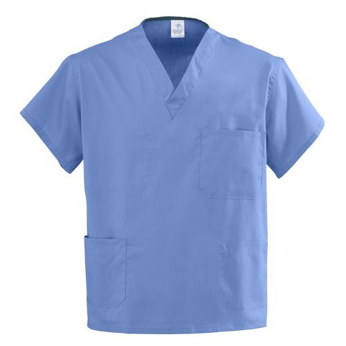Medline Angelstat 4-Pocket Scrub Tops, Ciel Blue