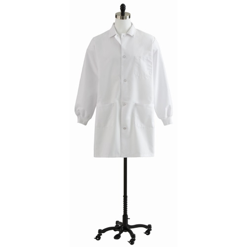 Knit Cuff Staff Length Lab Coat