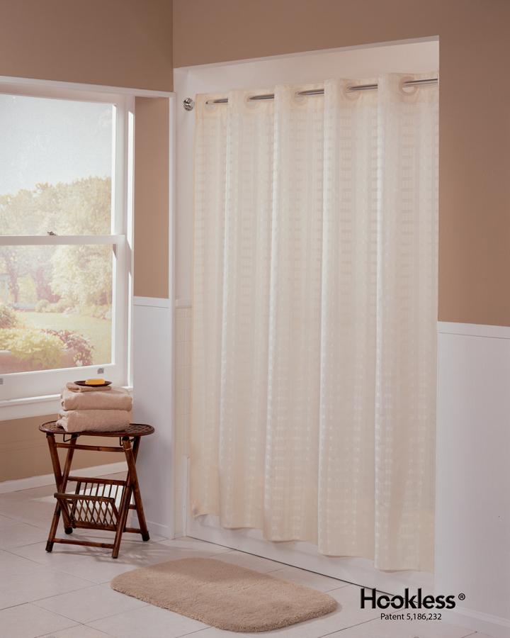 Medline Rainshadow Hookless Shower Curtain Beige Bathtub Size 71